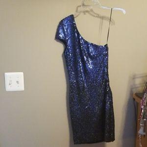 Dress the population blue sequin ombre dress